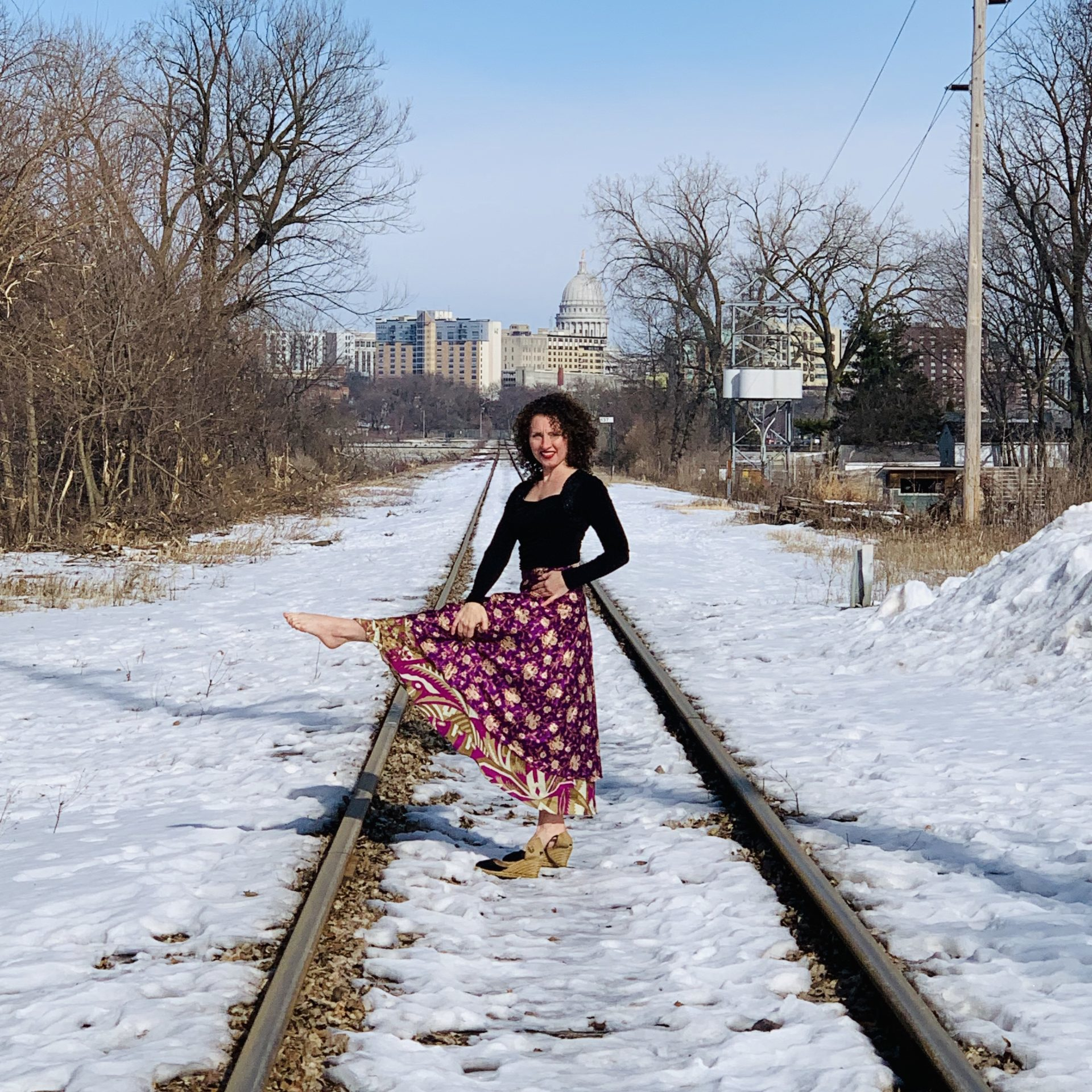 Lindsay Rogers on the railroad